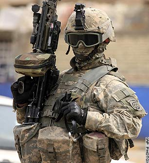 A US soldier protecting the Iraqi democracy